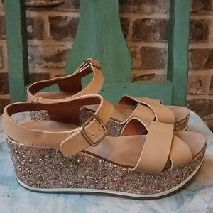 Maypol Anthropologie Sequined Leather Wedges